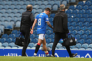 INJURY. Rangers suffer their first of three injuries on 10 minutes as Ryan Jack (Rangers) has to go off during the Scottish Premiership match between Rangers and Dundee United at Ibrox, Glasgow, Scotland on 12 September 2020.