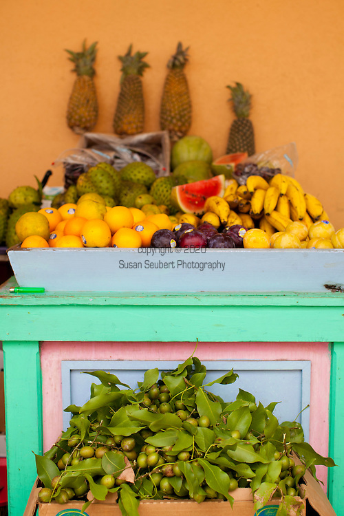 Speightstown, formerly known as Little Bristol, is the second largest town centre of Barbados. It is situated twelve miles to the north of the capital city of Bridgetown, in the northern parish of Saint Peter.  Local fruits being sold on the street.