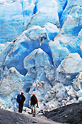 """People are dwarfed by the Exit Glacier, which flows from the Harding Icefield in the Kenai Mountains of Alaska, USA. The only road into Kenai Fjords National Park is a spur of the Seward Highway to Exit Glacier, one of the most visited glaciers in Alaska. It was named after the exit of the first recorded crossing of Harding Icefield in 1968. Hike trails to the glacier terminus or up to Harding Icefield. From 1815-1999, the Exit Glacier in Alaska retreated 6549 feet, melting an average of 35 feet per year (according to www.nps.gov/kefj/). Over the past 50 years, Alaska's winters have warmed by 6.3°F (3.5°C) and its annual average temperature has increased 3.4°F (2.0°C) (Karl et al. 2009). Alaska has warmed more than twice as fast as the continental United States. Since the industrial revolution began, humans have increased atmospheric carbon dioxide concentration by 35% through burning fossil fuels, deforesting land, and grazing livestock. An overwhelming consensus of climate scientists agree that global warming is indeed happening and humans are contributing to it through emission of greenhouse gases (primarily carbon dioxide). The UN Intergovernmental Panel on Climate Change (IPCC, 2007) says """"Warming of the climate system is unequivocal, as is now evident from observations of increases in global average air and ocean temperatures, widespread melting of snow and ice and rising global average sea level. There is very high confidence that the net effect of human activities since 1750 has been one of warming."""""""