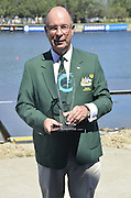 Sydney, Australia. FISA WC1, Sydney International Rowing Regatta. held at the Sydney International Rowing Centre, Penrith Lakes, NSW.   Colin SMITH, President - Rowing Australia, with Trophy, for most successful Nation. Sunday 24/03/2013[Mandatory Credit. Karon Phillips/Intersport Images]..