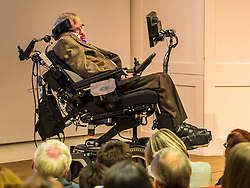 August 19, 2017 - London, London, UK - London, UK. Professor Stephen Hawking speaks at The Royal Society of Medicine. Professor Hawkins has accused Health Secretary Jeremy Hunt and the Conservative Government of damaging the NHS. (Credit Image: © Graham Eva/London News Pictures via ZUMA Wire)