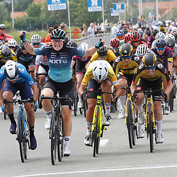 KNOKKE HEIST (BEL) July 10 CYCLING:2nd Stage Baloise Belgium tour: Charlotte Kool(NED-Kortenhoef) wins the stage for Team NXTG ahead of Elisa Balsamo and Barbara Guarischi