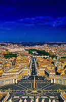 View of Piazza San Pietro from the dome of St. Peter's Basilica, Vatican, Rome, Italy