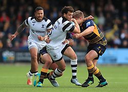 Worcester Rugby's Francois Venter and Jack Singleton tackle Bristol Bears' Zane Kirchner during the Gallagher Premiership match at Sixways Stadium, Worcester.