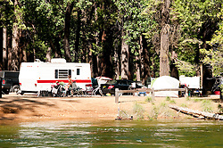 Campsite, North Pines Campground, Merced River, Yosemite National Park, California, USA.  Photo copyright Lee Foster.  Photo # california121179