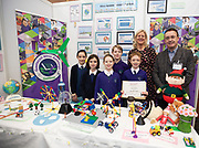 24/11/2019 repro free:<br /> Gaelscoil Mhic Amhlaigh and Paul Mee Chairman of the Galway Science and Technology Festival  on the last day of the Galway Science and Technology Festival  at NUI Galway where over 20,000 people attended exhibition stands  from schools to Multinational Companies . Photo:Andrew Downes, xposure