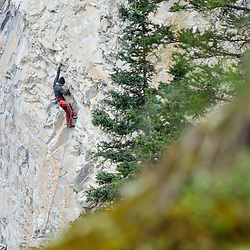 Jonathan Siegrist climbing Prestige, 5.14c, at Planet X in Canmore, AB