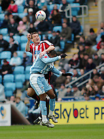 Photo: Kevin Poolman.<br />Coventry City v Sheffield United. Coca Cola Championship. 11/03/2006. Sheffield United's Craig Short (L) and Stern John both go for the ball.
