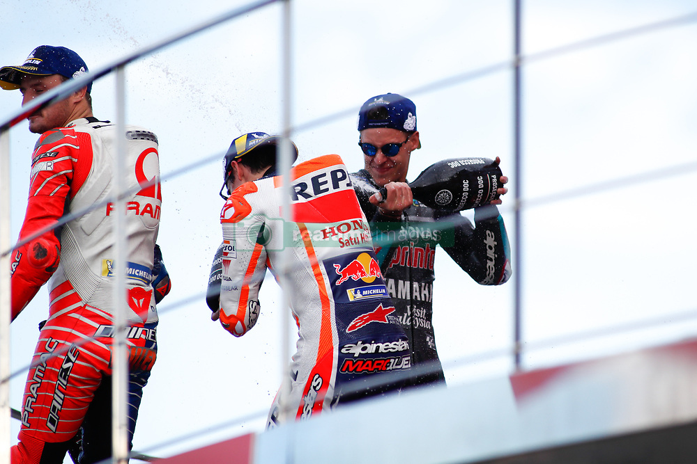 November 17, 2019, Cheste, VALENCIA, SPAIN: Fabio Quartararo, rider of Petronas Yamaha SRT from France, celebrates the second place in the Race of MotoGP at the Podio of the Valencia with Marc Marquez, rider of Repsol Honda Team from Spain, Grand Prix of MotoGP World Championship celebrated at Circuit Ricardo Tormo on November 16, 2019, in Cheste, Spain. (Credit Image: © AFP7 via ZUMA Wire)