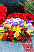 Flower wreaths at Remembrance Day 2006 - Brisbane, Australia - Lest we forget <br />