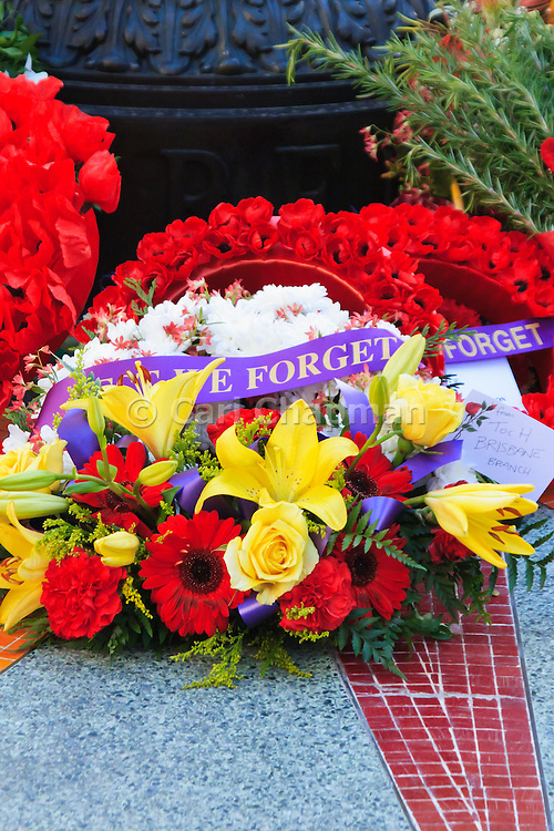 Flower wreaths at Remembrance Day 2006 - Brisbane, Australia - Lest we forget <br /> <br /> Editions:- Open Edition Print / Stock Image