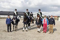 """Korsten Lennert (BEL) - Ilusie """"Q"""" """"FVD"""" and Smits Vicky (BEL) - Safier vd Wulfsdam and Ceuleers Birgit (BEL) - Dodena<br /> SBB Competitie Jonge Paarden - Nationaal Kampioenschap - Kieldrecht 2014<br /> © Dirk Caremans"""