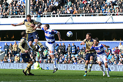 Leeds United's Connor Wickham heads the ball towards the QPR goal - Photo mandatory by-line: Mitchell Gunn/JMP - Tel: Mobile: 07966 386802 01/03/2014 - SPORT - FOOTBALL - Loftus Road - London - Queens Park Rangers v Leeds United - Championship