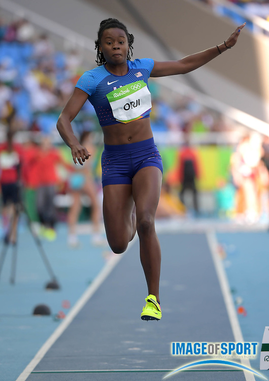 Aug 13, 2016; Rio de Janeiro, Brazil; Keturah Orji (USA) competes in the women's triple jump event at Estadio Olimpico Joao Havelange during the Rio 2016 Summer Olympic Games.