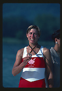 Banyoles, SPAIN, BRONZE Medalist,  CAN W1X SILKEN LAUMANN,  awards dock, holder her Bronze Medal. 1992 Olympic Regatta, Lake Banyoles, Barcelona, SPAIN.    [Mandatory Credit: Peter Spurrier: Intersport Images]