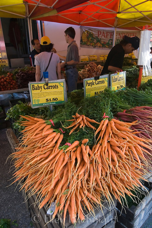 Carrots for sale at Union Square Farmer's Market in Manhattan