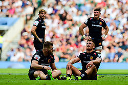 Henry Slade of Exeter Chiefs and Luke Cowan-Dickie of Exeter Chiefs look dejected after the final whistle of the match - Mandatory by-line: Ryan Hiscott/JMP - 01/06/2019 - RUGBY - Twickenham Stadium - London, England - Exeter Chiefs v Saracens - Gallagher Premiership Rugby Final