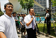 Terry Gou, founder and chairman of Hon Hai Group and one of the richest man in Taiwan, is surrounded by the media at the company's Foxconn plant in Shenzhen, China, on Wednesday, May 26, 2010. Hon Hai is the parts supplier for many hi-tech companies around the world including Apple Inc., Hewlett-Packard Co. and Dell Inc. There have been 12 suicides at the company's 300 thousand employee strong factory complex in Shenzhen so far this year. Foxconn has since moved some of its operations further inland to be closer to labor pool as well as cut costs.