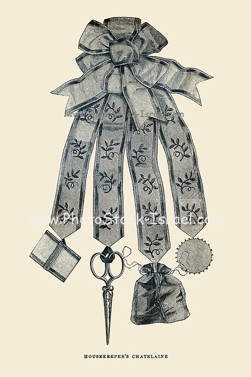 Housekeeper's Chatelaine [a set of short chains on a belt worn by women and men for carrying keys, thimble and/or sewing kit, etc.] from Godey's Lady's Book and Magazine, March, 1864, Volume LXIX, (Volume 69), Philadelphia, Louis A. Godey, Sarah Josepha Hale,
