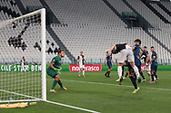 Juventus's Dutch defender Matthijs De Ligt anticipates Lecce's Italian defender Luca Rossettini to head past Lecce's Brazilian goalkeeper Gabriel and give the side a 4-0 lead during the Serie A match at Allianz Stadium, Turin. Picture date: 26th June 2020. Picture credit should read: Jonathan Moscrop/Sportimage