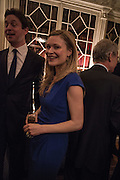 ALEX BURGHART; HERMIONE EYRE, The Walter Scott Prize for Historical Fiction 2015 - The Duke of Buccleuch hosts party to for the shortlist announcement. <br /> The winner is announced at the Borders Book Festival in Scotland in June.John Murray's Historic Rooms, 50 Albemarle Street, London, 24 March 2015.