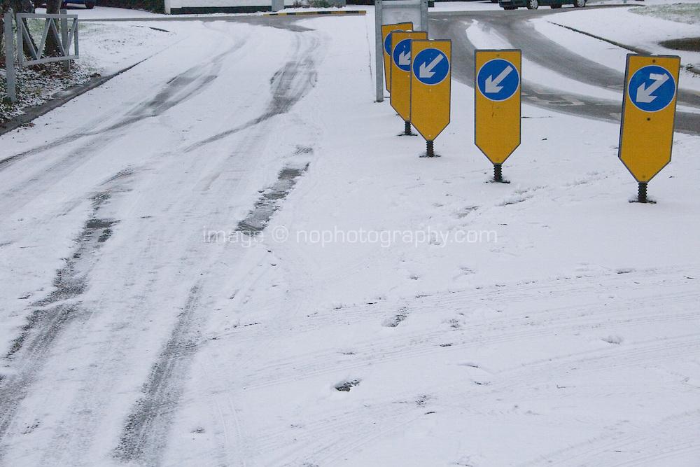 Snow covered roads in suburban in Dublin Ireland