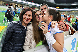 Ana Marija Vovk of Slovenia with family after the volleyball match between National team of Turkey and Slovenia in Gold Medal game of Womens U23 World Championship 2017, on September 17, 2017 in SRC Stozice, Ljubljana, Slovenia. Photo by Morgan Kristan / Sportida