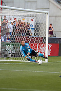 August 4, 2012: Colorado Rapids goalkeeper Matt Pickens (18) makes a diving save in the first half against Real Salt Lake at Dick's Sporting Goods Park in Denver, Colorado