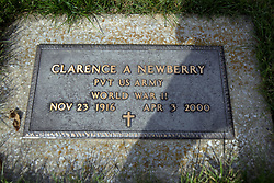 31 August 2017:   Veterans graves in Dawson Cemetery in eastern McLean County.<br /> <br /> Clarence A Newberry  Private US Army  World War II  Nov 23 1916  Apr 3 2000
