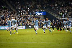 August 9, 2017 - Kansas City, Kansas, United States - Kansas City, KS - Wednesday August 9, 2017: Sporting KC celebrate defeating the San Jose Earthquakes in PKs to advance to the Final of the 2017 U.S. Open Cup during a Lamar Hunt U.S. Open Cup Semifinal match between Sporting Kansas City and the San Jose Earthquakes at Children's Mercy Park. (Credit Image: © Amy Kontras/ISIPhotos via ZUMA Wire)