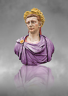 Painted colour verion of Roman marble sculpture bust of Emperor  Claudius 41-54 AD, inv 6068, Museum of Archaeology, Italy
