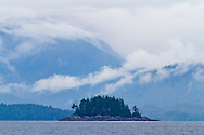 The view of the islands as seen from the water taxi on the way to Eagle Nook Resort, Ucluelet, British Columbia