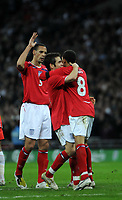 Photo: Tony Oudot/Richard Lane Photography. <br /> England v Switzerland. International Friendly. 06/02/2008.<br /> Jermaine Jenas of England celebrates his goal with Joe Cole and Rio Ferdinand