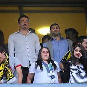 Hidayet TURKOGLU (L) and Omer ONAN (R) during their Turkish superleague soccer match Fenerbahce between Ankaragucu at the Sukru Saracaoglu stadium in Istanbul Turkey on Sunday 15 May 2011. Photo by TURKPIX