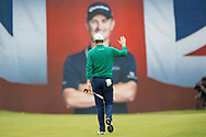 Justin Rose of England waves to the crowd on the 18th hole  during the British Masters 2018 at Walton Heath Golf Course, Walton On the Hill, Surrey on 12 October 2018. Picture by Martin Cole.