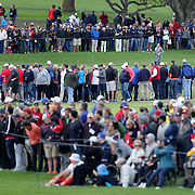 Ryder Cup 2016. Rory McIlroy of Europe walks towards the green on the 16th during practice day in front of massive crowds at the Hazeltine National Golf Club on September 28, 2016 in Chaska, Minnesota.  (Photo by Tim Clayton/Corbis via Getty Images)