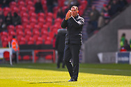Derek Adams of Plymouth Argyle (Manager) during the EFL Sky Bet League 1 match between Doncaster Rovers and Plymouth Argyle at the Keepmoat Stadium, Doncaster, England on 13 April 2019.