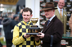 Paul Townend (left) and trainer Willie Peter Mullins celebrates victory at the Magners Cheltenham Gold Cup Chase during Gold Cup Day of the 2019 Cheltenham Festival at Cheltenham Racecourse.
