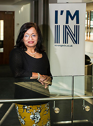 Pictured: Professor Mona Siddiqui<br /> Professor Mona Siddiqui, chair of the Scotland Stronger in Europe Advisory Group, Jayne-Anne Gadhia, CEO of Virgin Money, and campaign spokesman John Edward joined others to provide a Scotland Stonger in Europe briefing in Edinburgh today. <br /> <br /> Ger Harley | EEm 10 May April 2016