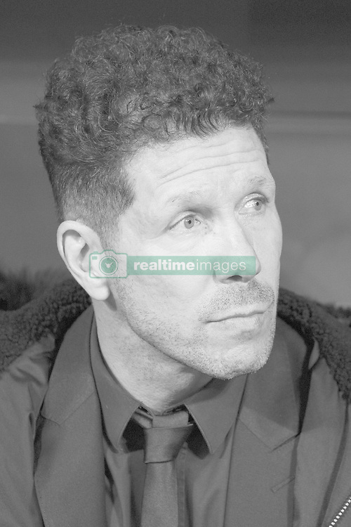 February 21, 2019 - Madrid, Madrid, Spain - (EDITOR'S NOTE: Image was converted to black and white) Diego Pablo Simeone, Manager of Atletico de Madrid  during the UEFA Champions League Round of 16 First Leg match between Club Atletico de Madrid and Juventus at Estadio Wanda Metropolitano on February 20, 2019 in Madrid, Spain Photo: Oscar Gonzalez/NurPhoto  (Credit Image: © Oscar Gonzalez/NurPhoto via ZUMA Press)