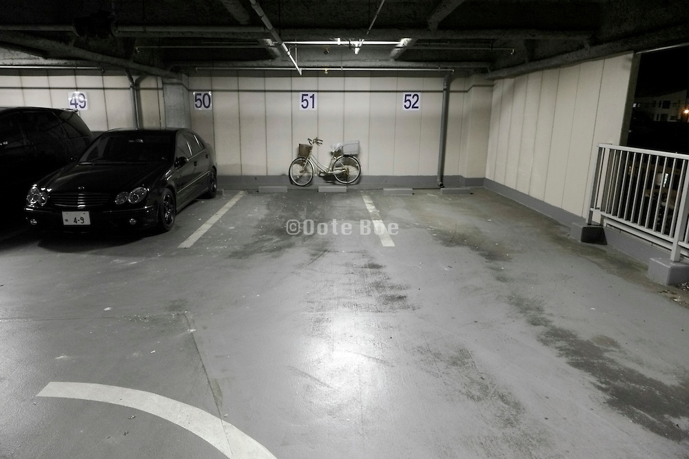 car parking and bicycle during night