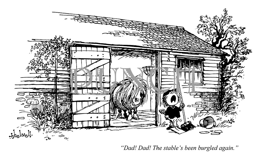 """""""Dad! Dad! The stable's been burgled again."""""""