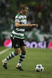 October 31, 2017 - Lisbon, Portugal - Sporting's defender Stefan Ristovski in action during the Champions League  football match between Sporting CP and Juventus FC at Jose Alvalade  Stadium in Lisbon on October 31, 2017. (Credit Image: © Carlos Costa/NurPhoto via ZUMA Press)