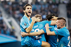 February 21, 2019 - Saint Petersburg, Russia - Magomed Ozdoev of FC Zenit Saint Petersburg celebrates a goal with teammates during the UEFA Europa League Round of 32 second leg match between FC Zenit Saint Petersburg and Fenerbahce SK on February 21, 2019 at Saint Petersburg Stadium in Saint Petersburg, Russia. (Credit Image: © Mike Kireev/NurPhoto via ZUMA Press)