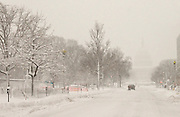 US Capitol barely visible during Washington DC Blizzard 2010