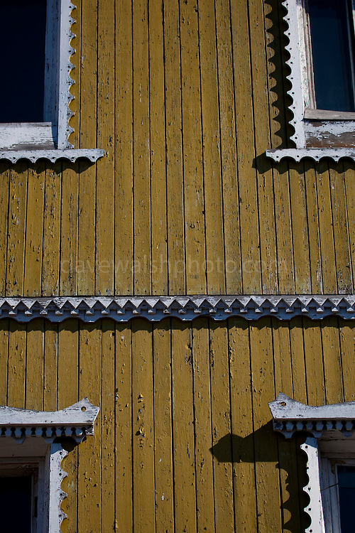 Detail of houses in Barentsburg, a Russian coal mining town in the Norwegian Archipelego of Svalbard. Once home to about 2000 miners and their families, less than 500 people now live here.
