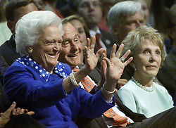 Former first lady Barbara Bush, wife of former President George H.W. Bush and mother of former President George W. Bush, died Tuesday at her home in Houston. She was 92. Barbara Bush had been in failing health, suffering from congestive heart failure and chronic obstructive pulmonary disease. George and Barbara, who celebrated their 73rd wedding anniversary on Jan. 6, hold the record for the longest-married presidential pair. Mrs. Bush was known for her wit and emphasis on family. One of her primary causes was literacy. She founded the Barbara Bush Foundation for Family Literacy in 1989 to carry forth her legacy in the cause for literacy. PICTURED: Aug 01, 2000; Philadelphia, Pennsylvania, USA; Former President GEORGE BUSH, wife BARBARA (L) and former First Lady NANCY REAGAN at the 2000 Republican National Convention.  (Credit Image: © Chris Kleponis/ZUMAPRESS.com)
