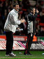 Photo: Alan Crowhurst.<br />Southampton v Burnley. Coca Cola Championship. 13/01/2007. Burnley manager Steve Cotterill (L) and George Burley the Saints' coach give their teams instuctions.