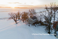 63895-17516 Aerial view of Pleasant Grove Church at sunrise in winter Marion Co. IL