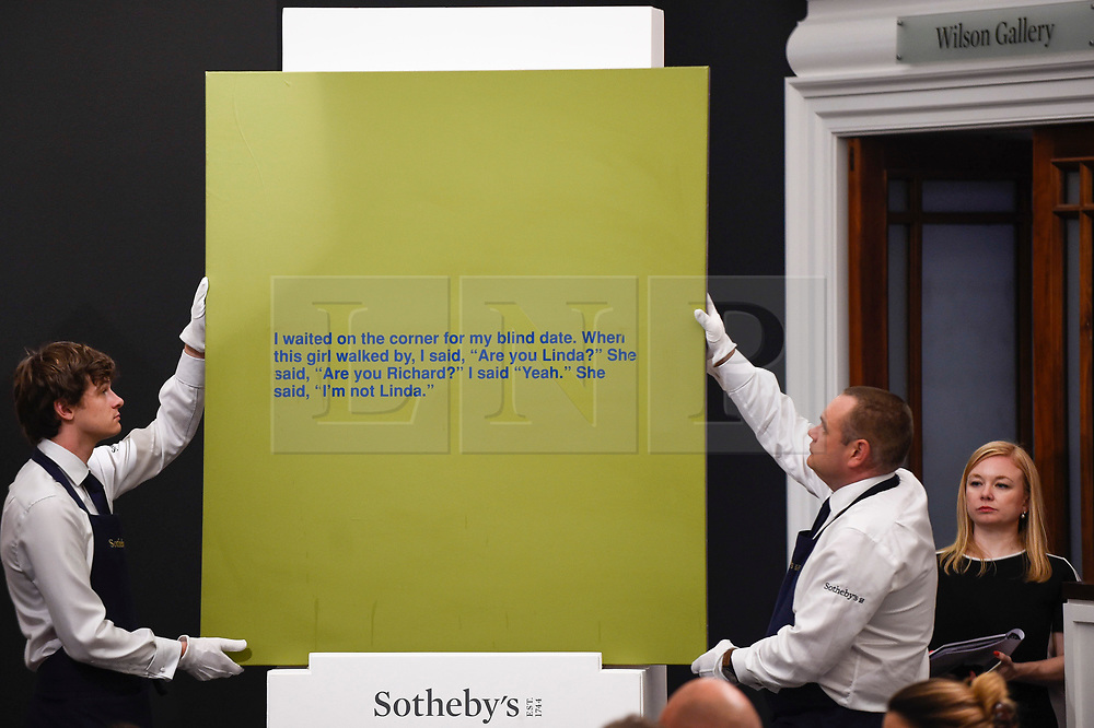 © Licensed to London News Pictures. 26/06/2019. LONDON, UK. ''I'm Not Linda'' by Richard Prince, (Est. £1,400,000 - 1,800,000) sold for a hammer price of £1,450,000 at Sotheby's Contemporary Art Evening Sale in their New Bond Street galleries.  Photo credit: Stephen Chung/LNP